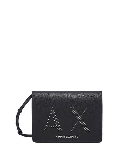 Armani Exchange Armani Exchange Logo Baskılı Kadın Omuz Çantası Siyah